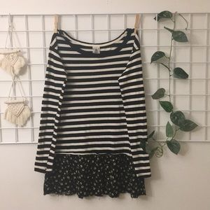 NWTs Free People Black Striped Tunic W/ Florals